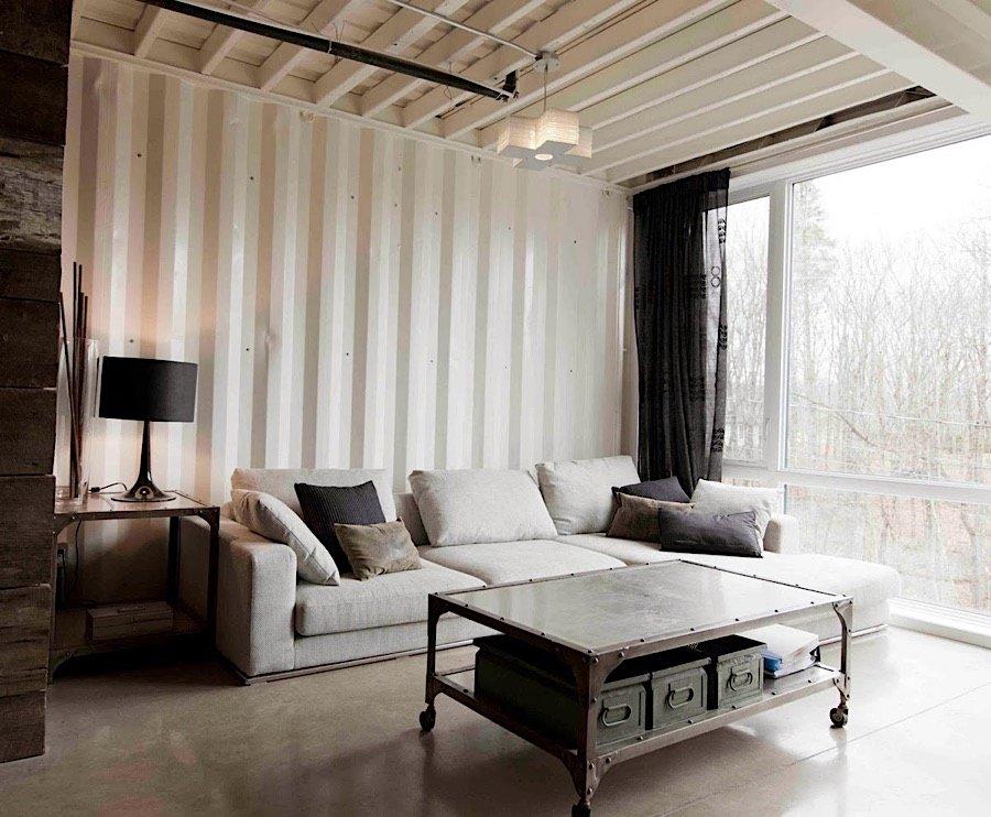Interiér kontajnerového domu - obývačka