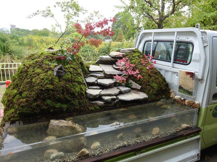 japonská záhrada na aute